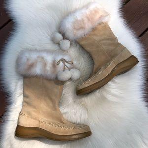Aerosoles Squish Beige Leather Fur Pom Pom Boots